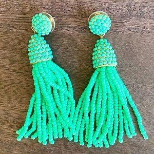 Accessories - Green-turquoise beaded tassel earrings